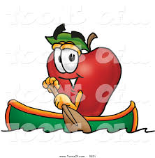 cartoon of a happy red apple character mascot rowing a boat by