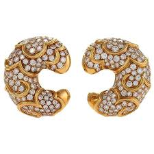 gold earrings for marina b italian diamond and gold onda earrings for sale at 1stdibs