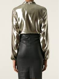 metallic blouse lyst lanvin metallic blouse in metallic