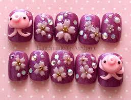nails octopus squid 3d nails short nail sakura cherry