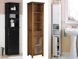Bathroom Storage Cabinets With Drawers Narrow Black Bathroom Storage Cabinet With Glass And Wood