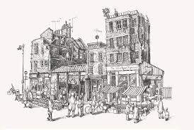 a drawing of a bacon st market shoreditch buy by pay pal or online
