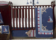 navy blue nautical sail boat themed cheap 9p baby boy crib bedding