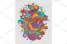 vector cinema movie film doodles hand drawn sketch symbols and