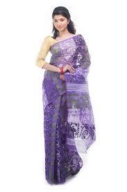 jamdani sharee exclusive violet dhakai jamdani saree from bangladesh