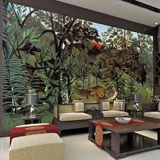 rousseau jungle painting wallpaper custom 3d wall murals vintage