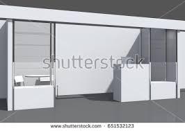 Exhibition Reception Desk 3d Visualization Exhibition Stand Showcases Workstations Stock