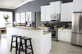 kitchen painted gray with white cabinets how i transformed my kitchen with paint house mix grey