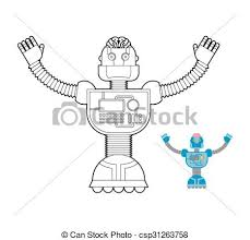 clipart vector space robot coloring book cybernetic mechanism