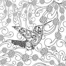 tropical bird in flower garden animals hand drawn doodle ethnic