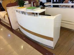 Used Salon Reception Desk Small Curved Used Reception Desk Salon View With Desks