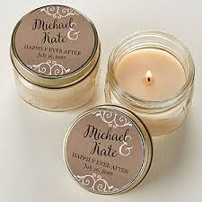 candle favors personalized rustic wedding jar candle favors
