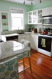 Blue Green Kitchen - 10 beautiful kitchens with green walls counter top green walls