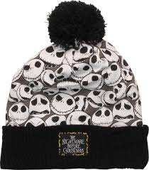nightmare before collage cuffed pom beanie disney