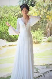 ella romantic wedding dress with long lace sleeves and chiffon