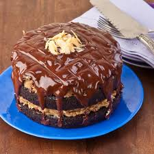 chocolate fudge cake with coconut pecan brown sugar frosting and