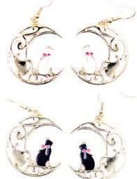 enamel cat sitting on sparkly crescent moon earrings ebay