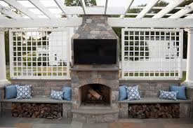 Sided Outdoor Fireplace - outdoor fireplace kits masonry fireplaces