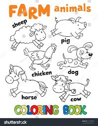 coloring book funny farm baby animals stock vector 273648605