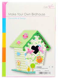 build make your own bird house craft children card paper kit