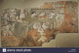 sogdia pre islamic central asia mural lamentation wall pre islamic central asia mural lamentation wall painting glue colour on dry loess plaster 6th c penjikent temple ii main hall southern wall