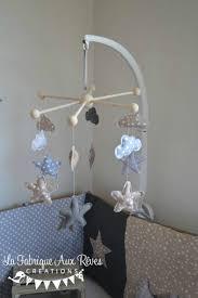 mobile chambre enfant mobile éveil bébé nuages étoiles gris blanc beige décoration