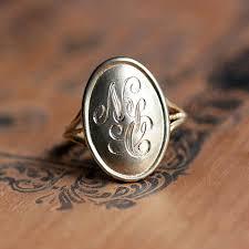 Monogram Initial Ring 14k Gold Monogram Ring Gold Initial Ring Personalized Monogram