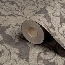 B Q Living Room Design Gold Kensington Charcoal Damask Metallic Wallpaper Departments