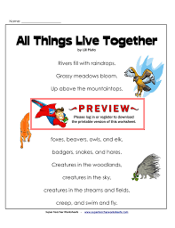 all things live together super teacher worksheets