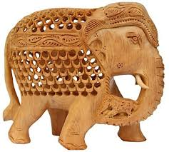 elephant decor handcarved wooden figurine of mother elephant