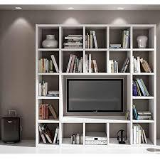 libreria tv ensemble salon composé de bibliothèque meuble tv blanc pore ouvert