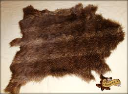 brown fallow deer hide throw faux fur pelt accent rug bear