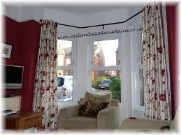 bay window poles neil nicola curtains open eyelet curtains on angle bay pole