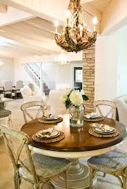Shabby Chic Dining Table Sets with Austin Rustic Round Dining Room Shabby Chic Style With Worn Wood