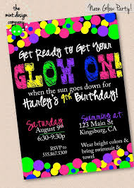 neon birthday invitations neon birthday invitations with stylish