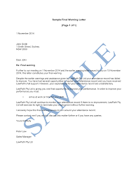 Sample Letter To Fire My Attorney by Warning Letter To Employee For Misconduct Thebridgesummit Co