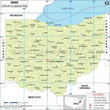 ohio on the map of usa ohio latitude and longitude map lat of ohio state usa