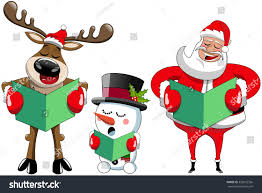 cartoon santa claus reindeer snowman singing stock vector