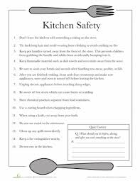 kitchen safety worksheets safety and free printable