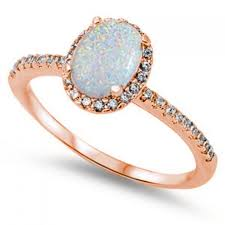 1 30ct oval cut lab white opal round russian diamond cz rose gold