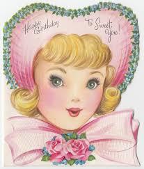 vintage greeting card pretty pink hat bow flowers die cut