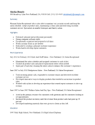 Resume Template For Receptionist Free Salon Receptionist Resume Template Sample Ms Word