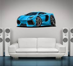 cartoon lamborghini lamborghini aventador v12 wall graphic cartoon car stickit graphix