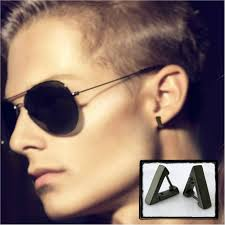 cartilage earrings men mens hoop earring in black gold triangle hoop earring for