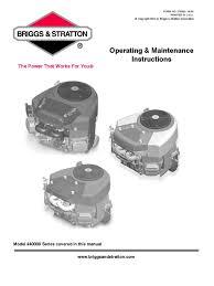 briggs u0026 stratton model 440000 operating and maintenance