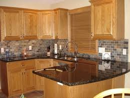 kitchen backsplash ideas with oak cabinets oak cabinets granite countertops honey oak kitchen cabinets with
