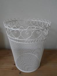 vintage cream shabby chic heart metal wire waste paper bin by