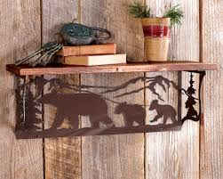Log Cabin Furniture Bear Metal Art Wood Shelf