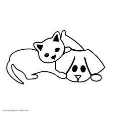 simple dog and cat coloring page