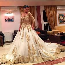 discount luxury gold lace and white long sleeve ball gown